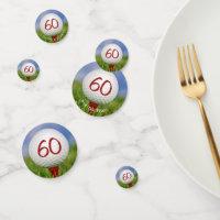 60th birthday golf ball on red tee confetti