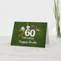 60th birthday golfer with golf ball and tee Golf Card