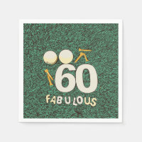 60th birthday golfer with golf ball and tee napkins