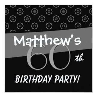 60th Birthday Gray and Black Pattern Card