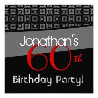 60th Birthday Gray Black Red Pattern Invites