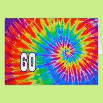 60th Birthday Groovy Tie-Dye Card