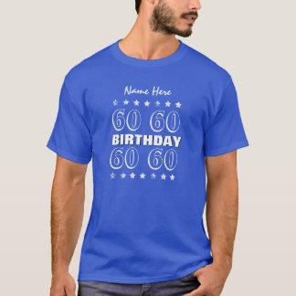 60th Birthday Grunge Stars A12 Blue and White T-Shirt