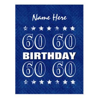 60th Birthday Grunge Stars A14 Blue Silver White Postcard