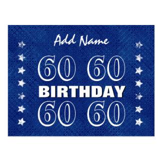 60th Birthday Grunge Stars A15 Blue Silver White Postcard