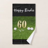 60th Birthday happy birdie to golfer and golf ball Hand Towel