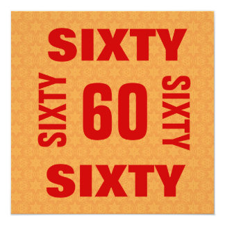 60th Birthday Huge Letters Numbers Red Gold B210 Card