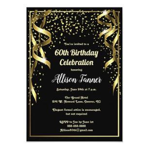 60th Birthday Invitation Black And Gold Confetti