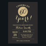 "60th Birthday Invitation Black and Gold Glitter<br><div class=""desc"">60th Birthday Invitation Black and Gold Glitter Card. For further customization,  please click the ""Customize it"" button and use our design tool to modify this template.</div>"