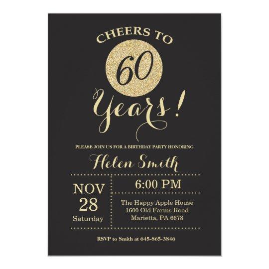 60th Birthday Invitation Black and Gold Glitter Zazzlecom