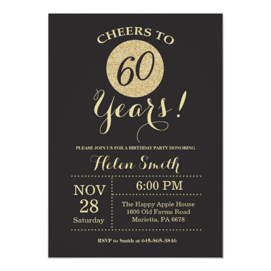 60th birthday invitation black and gold glitter zazzle com