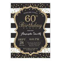 60th Birthday Invitation. Black and Gold Glitter Card