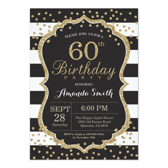 60th birthday invitation black and gold glitter invitation zazzle com