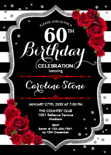 60th Birthday Invitation Black White Stripes Roses