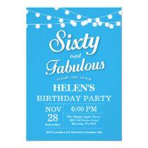 60th Birthday Invitation Blue Fabulous