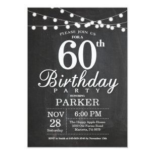 Black white 60th birthday invitations announcements zazzle 60th birthday invitation chalkboard string lights filmwisefo