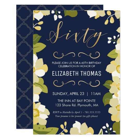 60th Birthday Invitation Customize Floral W Gold