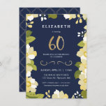 """60th Birthday Invitation, Elegant Flowers w/ Gold Invitation<br><div class=""""desc"""">This elegant and classy sixtieth birthday invitation features an illustrated floral border and the number """"60"""" in gold. The background is a navy blue color, but can be customized to any color you choose. The back of the invite includes a gold quatrefoil pattern with a matching navy background that can...</div>"""