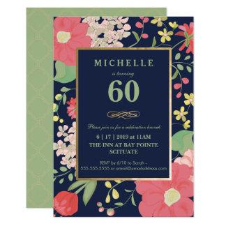 60th Birthday Invitation - Gold, Elegant Floral