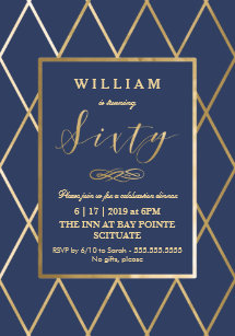 Elegant Gold 60th Birthday Invitations