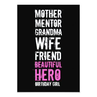 60th Birthday Invitation - Mom Beautiful Hero