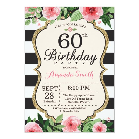 60th birthday invitation women floral gold black  zazzle