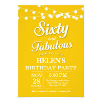 60th Birthday Invitation Yellow Fabulous