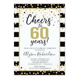 60th birthday invitations, black and gold cheers invitation