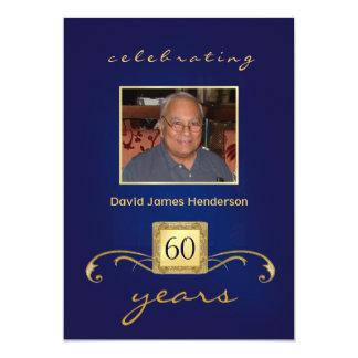 "60th Birthday Invitations - Monogram Blue & Gold 5"" X 7"" Invitation Card"