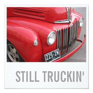 """60th Birthday Invitations - Still Trucking 5.25"""" Square Invitation Card"""