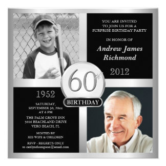 60th Birthday Invitations Then Now Photos