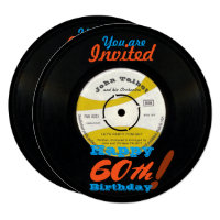 60th Birthday Invite Retro Vinyl Record 45 RPM