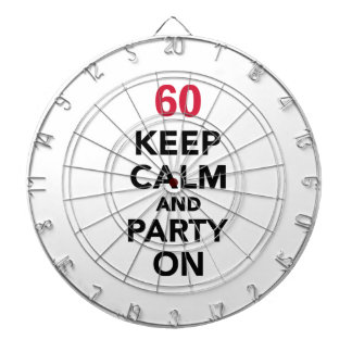 60th birthday Keep calm and party on Dart Board