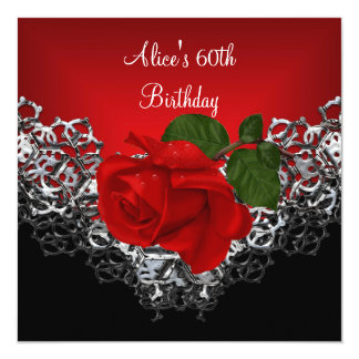 "60th Birthday Lace Black Silver Deep RED Rose 5.25"" Square Invitation Card"