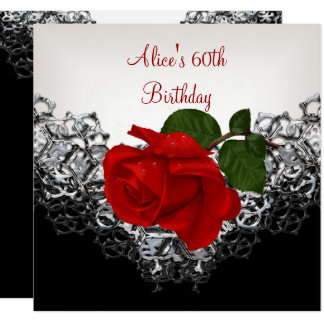 60th Birthday Lace Black White Silver RED Rose Card