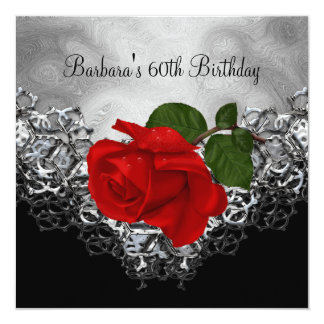 "60th Birthday Lace Black White Silver RED Rose 5.25"" Square Invitation Card"