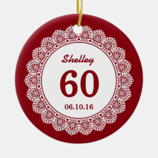 60th Birthday Memento Red White Lace L34F Double-Sided Ceramic Round Christmas Ornament