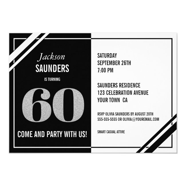 60th Birthday Modern Black and White Party Invitation