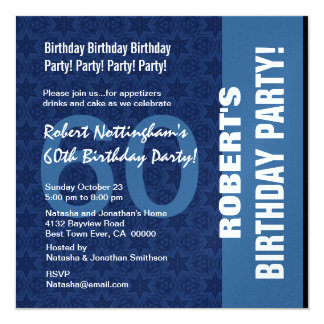 60th Birthday Modern Pattern in Hues of Blue W331 Card