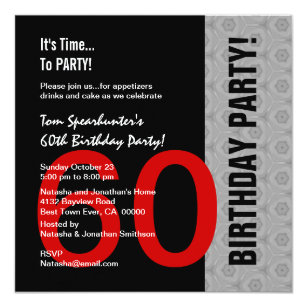 60th Birthday Modern Red Silver Black Funny W1471 Invitation