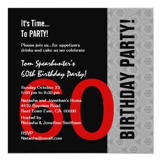 "60th Birthday Modern Red Silver Black Funny W1471 5.25"" Square Invitation Card"