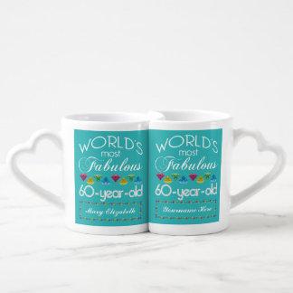 60th Birthday Most Fabulous Colorful Gem Turquoise Coffee Mug Set