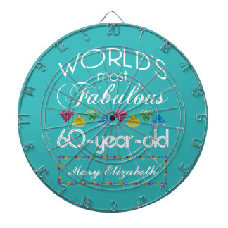 60th Birthday Most Fabulous Colorful Gem Turquoise Dartboards