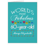 60th Birthday Most Fabulous Colorful Gem Turquoise Greeting Card