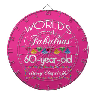 60th Birthday Most Fabulous Colorful Gems Pink Dartboard With Darts