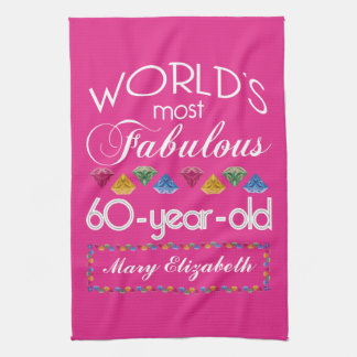 60th Birthday Most Fabulous Colorful Gems Pink Hand Towels