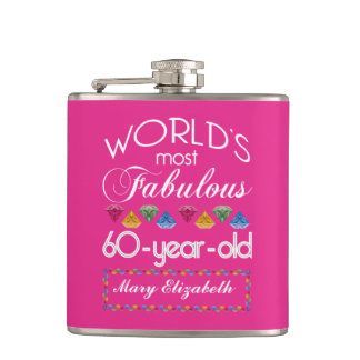 60th Birthday Most Fabulous Colorful Gems Pink Hip Flask