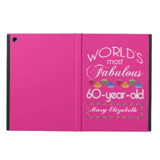 60th Birthday Most Fabulous Colorful Gems Pink iPad Air Covers