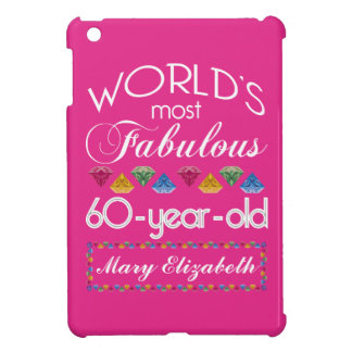 60th Birthday Most Fabulous Colorful Gems Pink iPad Mini Cases