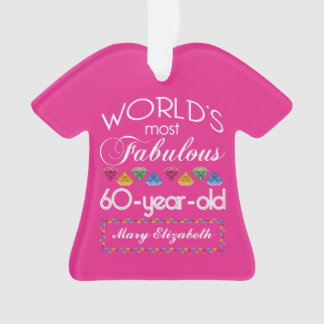 60th Birthday Most Fabulous Colorful Gems Pink Ornament